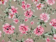 Viskose Stoff große Blumen Blätter, rosa beige