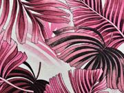 Viskosejersey mit Leinen tropische Blätter, rosa weinrot creme