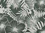 Viskosejersey mit Leinen Blumen tropische Blätter, natur khakigrün