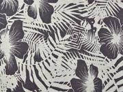 Viskosejersey mit Leinen Blumen tropische Blätter, natur taupe