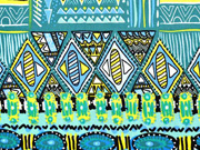Viskose Crepe Ethno Muster Ibiza Style, schwarz grün blau
