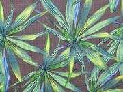 Viskose grüne Palmblätter, grün taupe