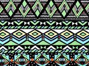 Viskosejersey Ethno Muster, mint grün schwarz