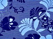 Viskosejersey Blumen Streifen, dunkelblau hellblau