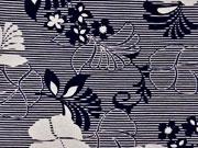 Viskosejersey Blumen Streifen, beige dunkelblau