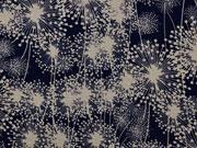 Viskosejersey Pusteblumen Dandelions, beige dunkelblau