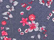 Viskosejersey Blumenzweige Pünktchen, weiß dunkelblau