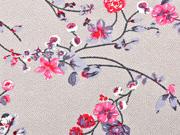 Viskosejersey Blumenzweige Pünktchen, weiß beige