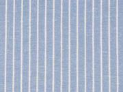 Viskose Leinen Stoff Streifen, weiß hellblau meliert