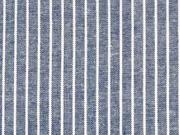 Viskose Leinen Stoff Streifen, weiß dunkelblau meliert