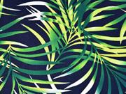 Viskose Leinen Palmblätter, grün dunkelblau