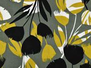 Viskose Leinen abstrakte Tulpen, schwarz senfgelb khaki