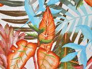 Viskose Leinen Palmblätter, terracotta hellblau weiß