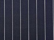 Viskose Leinen Stoff schmale Nadelstreifen, weiß dunkelblau