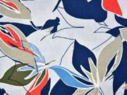 Viskose Leinen Webware Blätter, blau grau rot