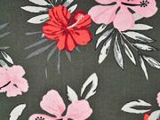 Viskose Leinen Webware Hibiskusblüten Palmblätter, khaki