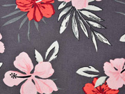 Viskose Leinen Webware Hibiskusblüten Palmblätter, dunkelbraun