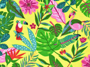 Jerseystoff Flamingo Tukan tropische Blätter, gelb