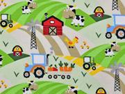 RESTSTÜCK 38 cm Jersey Traktor Kühe Bauernhof, beige hellgrün