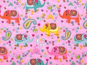 Jersey Elefanten Blümchen Paisleymuster, rosa
