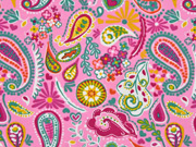Sweat Stoff French Terry Paisley, bunt rosa
