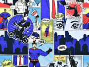 Jersey Comic Superhelden, jeansblau