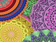 Jersey bunte Mandala Kreise Ethnomuster Digitaldruck, lila