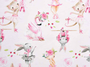 Sweat Stoff French Terry Hasen Katzen Flamingos Digitaldruck, rosa