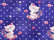 Sweat French Terry Jeanslook Katzen Blumen Punkte, dunkelblau