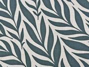 Dekostoff Leinenlook Blätter, mattes dunkelgrün natur