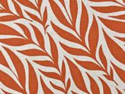 Dekostoff Leinenlook Blätter, terracotta natur