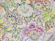 Dekostoff Blumen Aquarell Stil  Half Panama, bunt ecrue