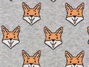 Jacquard Jersey lachender Fuchs, rostbraun hellgrau meliert