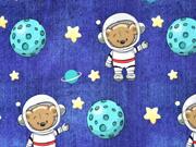 Sweatstoff French Terry Bär Astronaut Sterne Jeanslook , dunkelblau