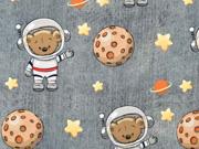 Sweatstoff French Terry Bär Astronaut Sterne Jeanslook, grau