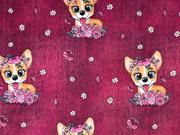 Sweatstoff French Terry Hunde mit Schleife Schmetterlinge Jeanslook, bordeaux