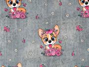 Sweatstoff French Terry Hunde mit Schleife Schmetterlinge Jeanslook, grau