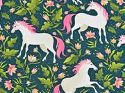 Sweatstoff Pferde Blumen Blätter, pink dunkelgrün