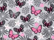 Jerseystoff Schmetterlinge, rosa grau