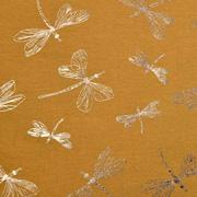 Jerseystoff Libellen Foliendruck Glitzer, ockergelb