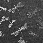 Jerseystoff Libellen Foliendruck Glitzer, anthrazit
