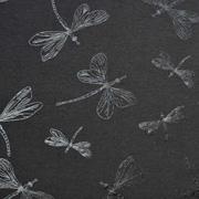Jerseystoff Libellen Foliendruck Glitzer, schwarz