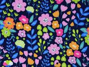 Softshell Stoff Blumen, rosa grün dunkelblau