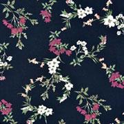 Viskose Stoffe Blumenzweige, bordeaux weiß schwarz