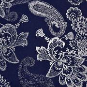 RESTSTÜCK 180 cm Viskose Stoff Blumen Paisley, weiß dunkelblau