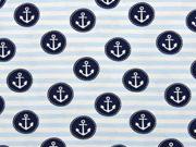 Jersey Anker im Kreis Streifen, dunkelblau hellblau