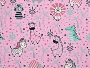 Jersey Löwen Elefanten Zebras Palmen, rosa