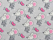 Jerseystoff Mäuse Schmetterlinge Sterne,rosa hellgrau