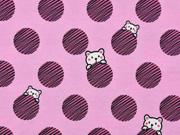 Jersey Stoff Punkte Bären, altrosa rosa