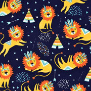 Jerseystoff Indianer Löwen Tippis, ockergelb dunkelblau